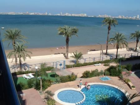 View of pool,garden and the Mar Menor
