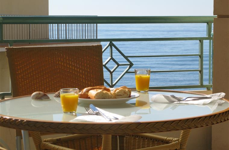 Breakfast on the balcony.