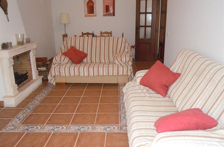 Lounge & dining room, TV / DVD,.View of olive tree in front garden