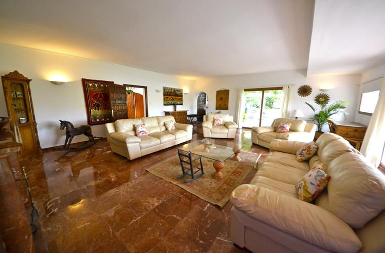 huge living room with marbled flooring , italian leather sofas