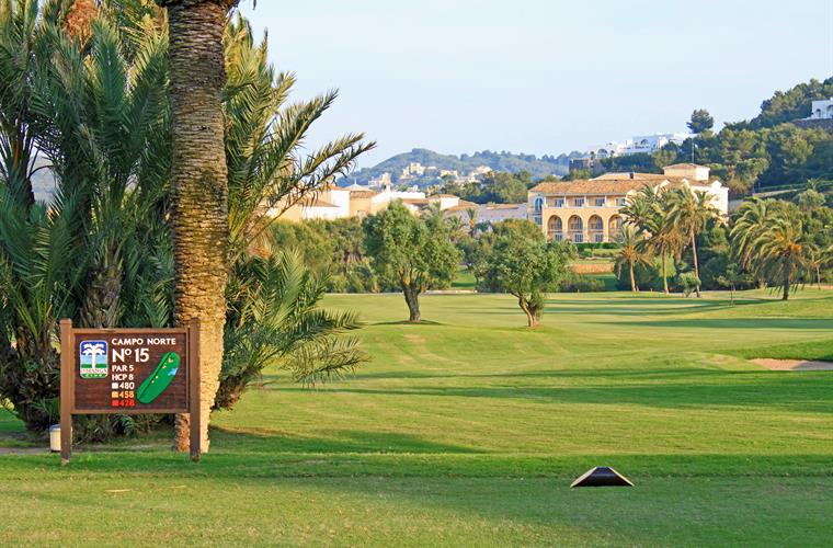 View across North-course to Hotel Principe Felipe