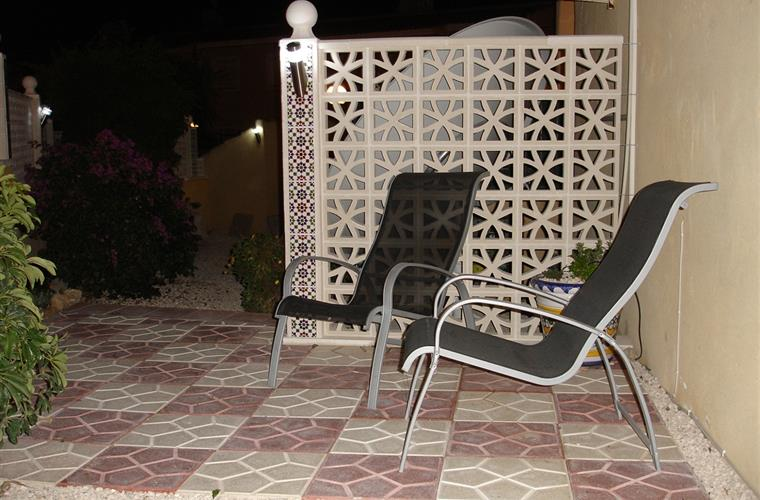 side patio at night