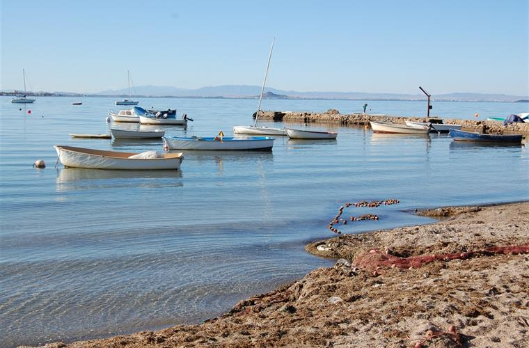 Boats moored on the Mar Menor