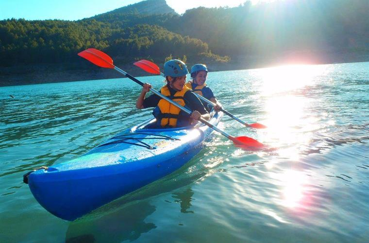 kayaking and canoeing on the reservoir twenty minutes drive away