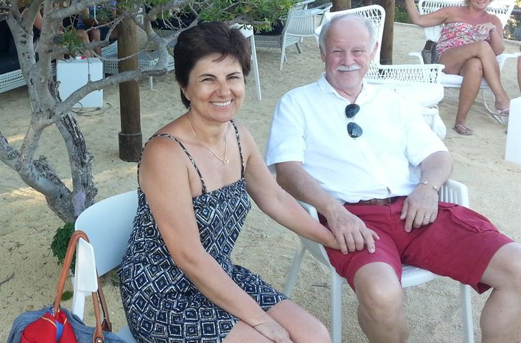 Dirk and Gabi relaxing in the Baladrar beachbar in Summer 2015