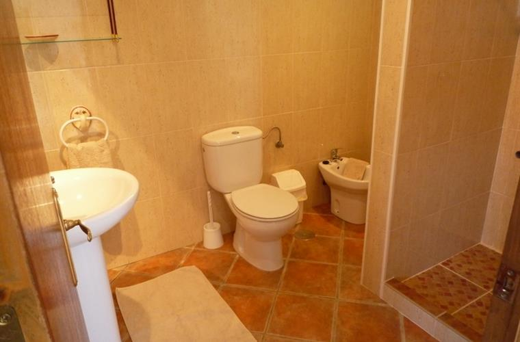The fully tiled bathroom, with shower, wash basin toilet and bidet