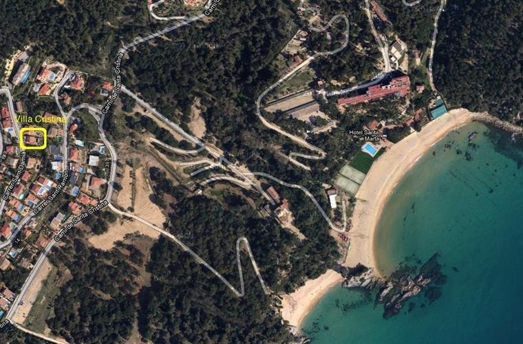 Air picture with exact location of villa