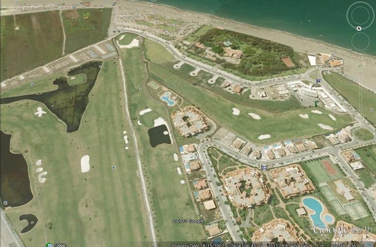 aerial view apt and swimming pool  top  picture surrounded golf