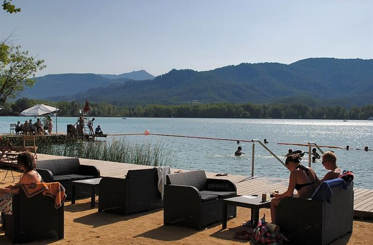 Swimming areas in Banyoles lake.