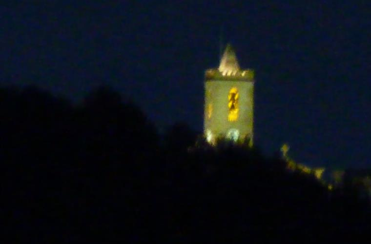 View at night time to the church