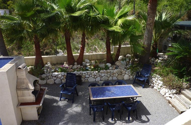 Our barbecue area with palm trees, to relax and enjoy with friends