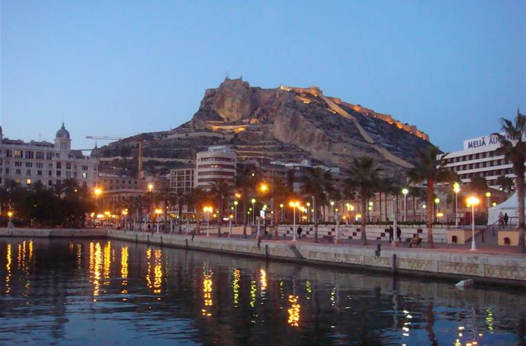 Alicante marina at dusk