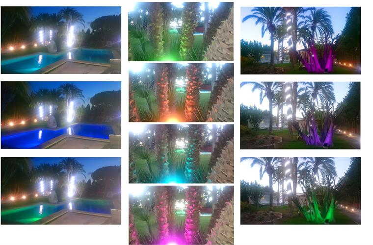 New design of colored lights in the garden and pool